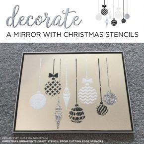 Cutting Edge Stencils shares a DIY stenciled mirror project using the Christmas Ornaments Craft Stencil. http://www.cuttingedgestencils.com/christmas-stencils-valentine-halloween.html