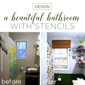 Cutting Edge Stencils shares a bathroom makeover using the Coral Allover Stencil to achieve a wallpaper look. http://www.cuttingedgestencils.com/coral-stencil-pattern-beach-decor.html