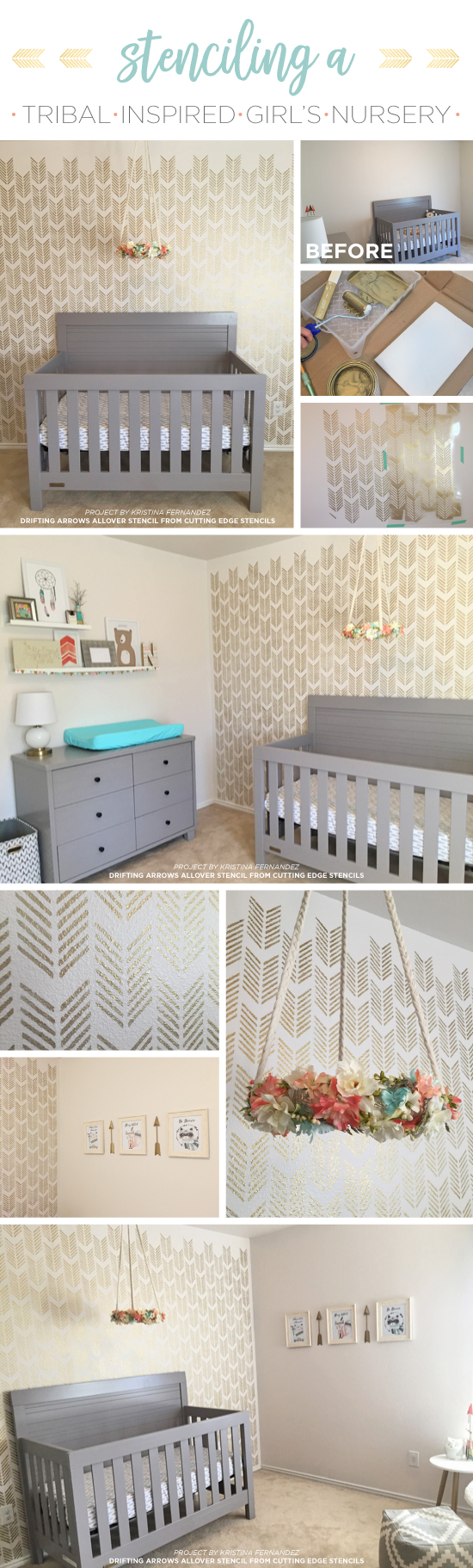 Cutting Edge Stencils shares a DIY stenciled girl's nursery accent wall using the Drifting Arrows stencil pattern in metallic gold. http://www.cuttingedgestencils.com/drifting-arrows-stencil-pattern-diy-decor.html