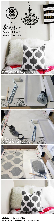 Cutting Edge Stencils shares how to stencil a DIY accent pillow using the Cascade Pillow Stencil Kit. http://www.cuttingedgestencils.com/cascade-stencils-paint-a-pillow-kit.html
