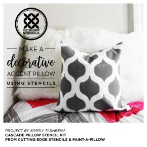 Cutting Edge Stencils shares how to stencil a DIY accent pillow using the Cascade Pillow Stencil Kit. http://www.cuttingedgestencils.com/cascade-stencils-paint-a-pillow-kit.html