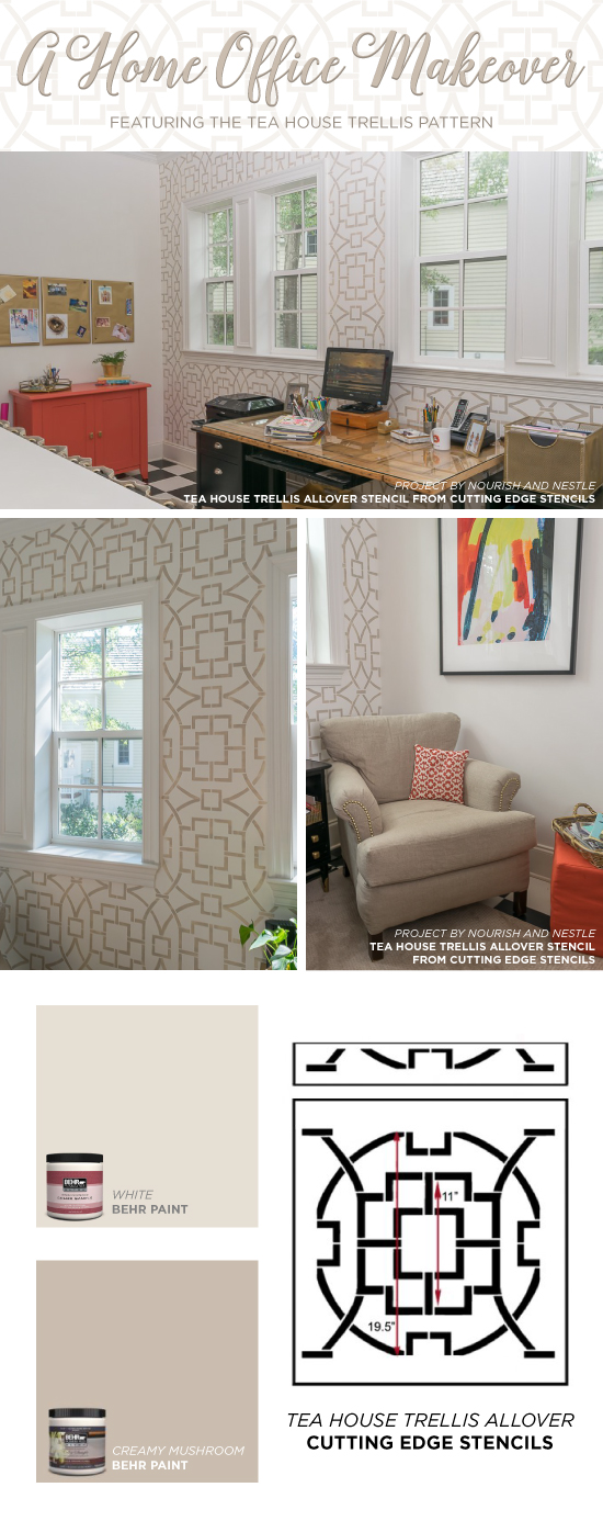 Cutting Edge Stencils shares a DIY home office makeover using the Tea House Trellis Allover Stencil on an accent wall. http://www.cuttingedgestencils.com/tea-house-trellis-allover-stencil-pattern.html