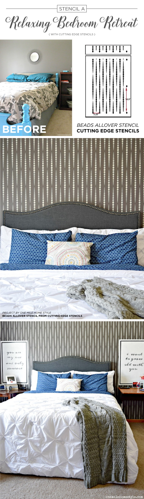 Cutting Edge Stencils shares a DIY stenciled master bedroom makeover using the Beads Allover Stencil on an accent wall. http://www.cuttingedgestencils.com/beads-wall-stencil-pattern.html