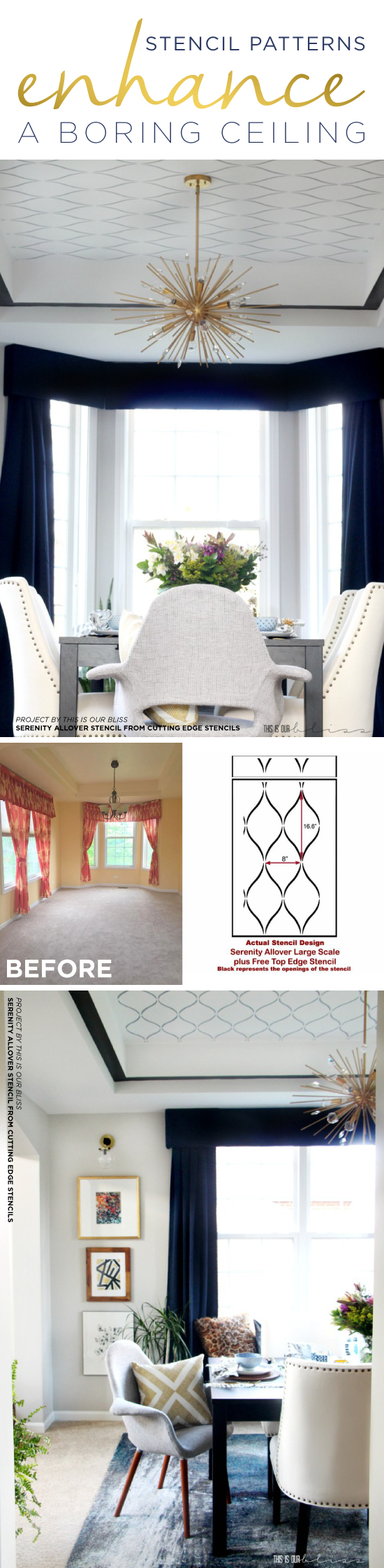 Cutting Edge Stencils shares a DIY dining room ceiling that was stenciled with the Serenity Allover Stencil, a geometric pattern. http://www.cuttingedgestencils.com/serenity-allover-stencil-trellis-design-wall-pattern-diy-decor.html