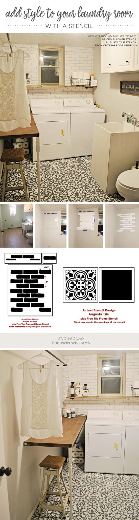 Cutting Edge Stencils shares a DIY stenciled laundry room accent wall that achieves a subway tile look using the Brick Allover Stencil. http://www.cuttingedgestencils.com/bricks-stencil-allover-pattern-stencils.html