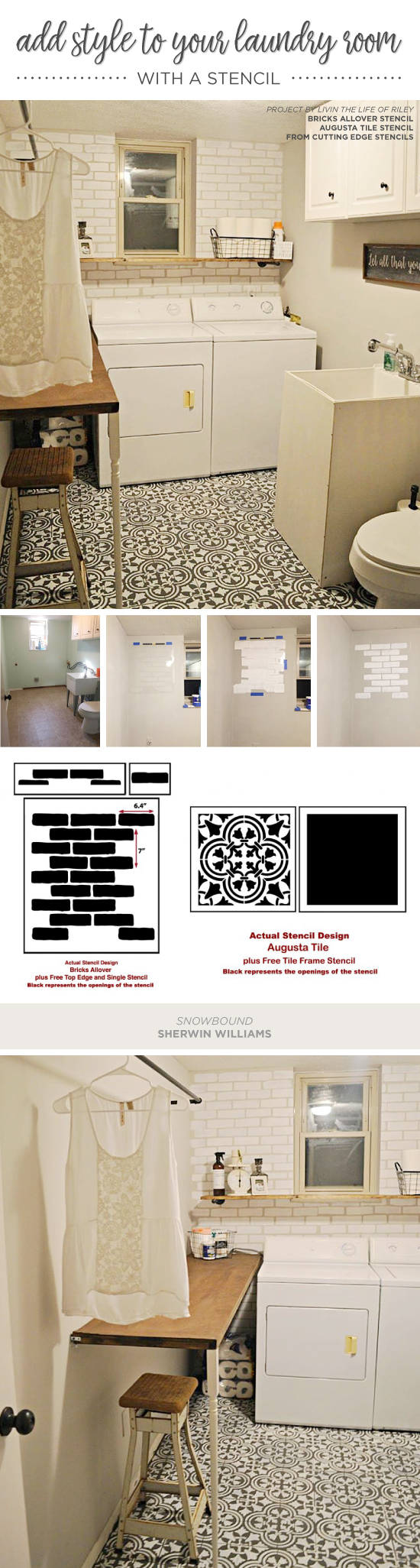 Add style to your laundry room with a stencil stencil stories cutting edge stencils shares a diy stenciled laundry room accent wall that achieves a subway tile amipublicfo Images