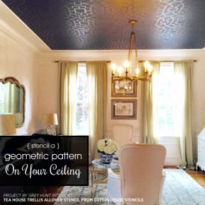 A sophisticated living room with a black stenciled ceiling using the Tea House Trellis Allover Stencil from Cutting Edge Stencils. http://www.cuttingedgestencils.com/tea-house-trellis-allover-stencil-pattern.html