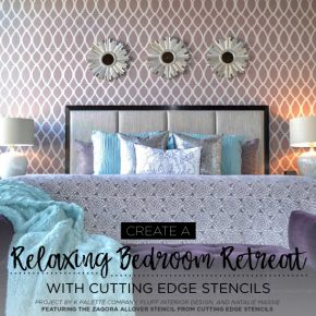 Cutting Edge Stencils shares a DIY stenciled purple bedroom accent wall using the Zagora Allover Stencil, a popular Moroccan wall pattern. http://www.cuttingedgestencils.com/trellis-allover-stencil.html