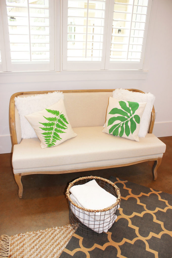 DIY botanical stenciled accent pillows painted using the Accent Pillow Stencil Kits from Cutting Edge Stencils. http://www.cuttingedgestencils.com/fern-stencil-paint-a-pillow-kit.html