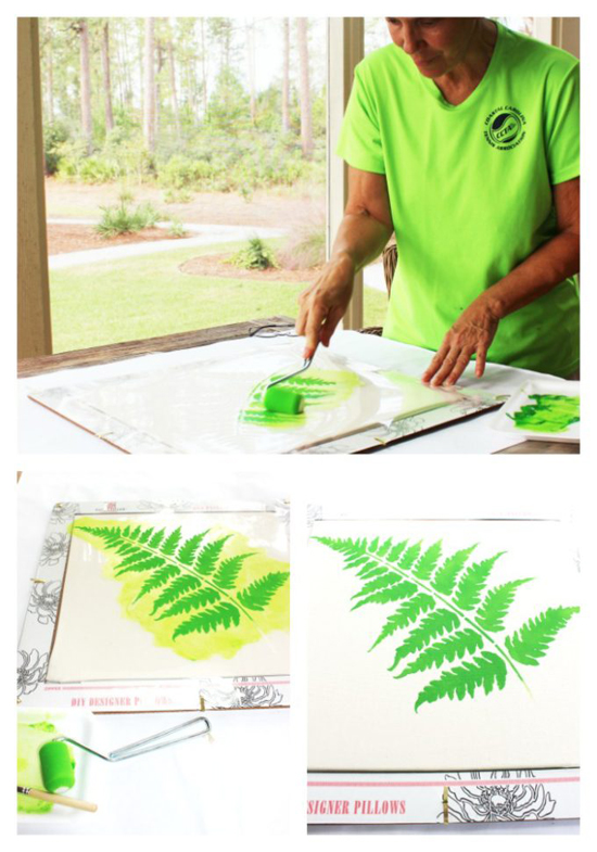 Learn how to stencil a DIY accent pillow using the Fern Accent Pillow Stencil Kit from Cutting Edge Stencils. http://www.cuttingedgestencils.com/fern-stencil-paint-a-pillow-kit.html