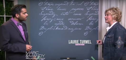 The Marc and Mandy Show feature Laurie Turmel, a DIY expert, on how to stencil an accent wall using the French Poem Allover Stencil from Cutting Edge Stencils. http://www.cuttingedgestencils.com/french-typography-letter-wall-stencil.html