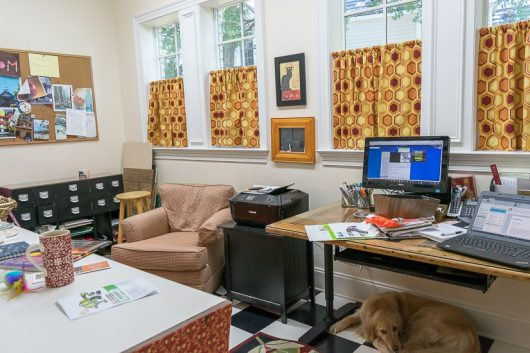 A home office before its stenciled makeover. http://www.cuttingedgestencils.com/tea-house-trellis-allover-stencil-pattern.html