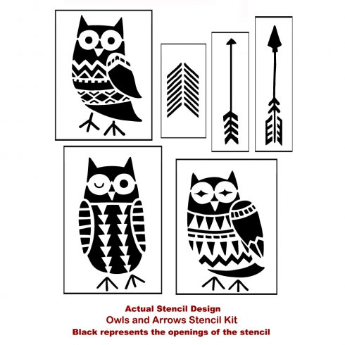 The Owls and Arrows Stencil kit from Cutting Edge Stencils. http://www.cuttingedgestencils.com/owls-arrows-stencil-kit-nurseries.html