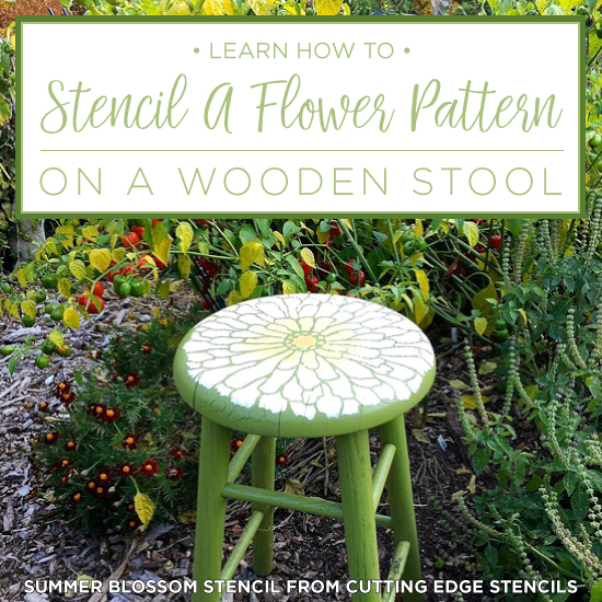 Learn How To Stencil A Flower Pattern On A Wooden Stool