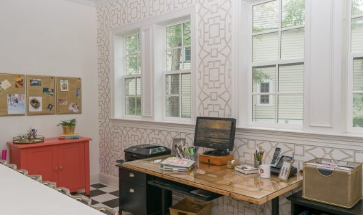 A DIY stenciled accent wall in a home office using the Tea House Trellis Allover Stencil from Cutting Edge Stencils. http://www.cuttingedgestencils.com/tea-house-trellis-allover-stencil-pattern.html