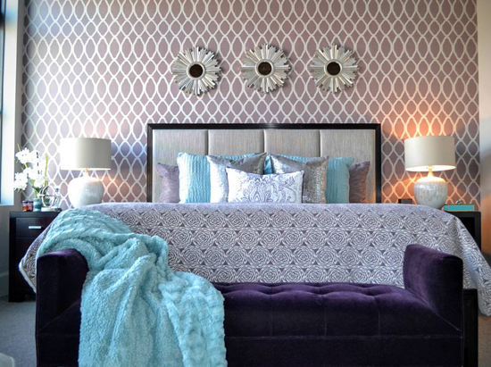 A DIY stenciled purple bedroom accent wall using the Zagora Allover Stencil, a popular Moroccan wall pattern, from Cutting Edge Stencils. http://www.cuttingedgestencils.com/trellis-allover-stencil.html