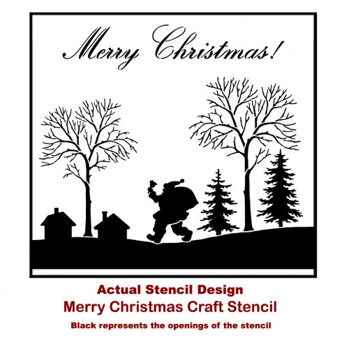 The Merry Christmas Craft Stencil has Santa walking through town with a bag of goodies from Cutting Edge Stencils. http://www.cuttingedgestencils.com/merry-christmas-crafts-stencil-design-diy-holiday-decor.html