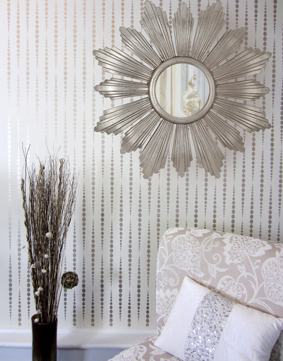 A DIY stenciled accent wall using a geometric wallpaper pattern, the Beads Allover Stencil, from Cutting Edge Stencils. http://www.cuttingedgestencils.com/beads-wall-stencil-pattern.html