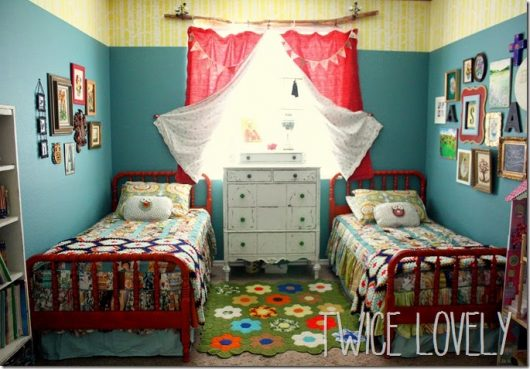 A DIY shared boy girl bedroom with a stenciled accent using the Birch Forest Allover Stencil from Cutting Edge Stencils. http://www.cuttingedgestencils.com/allover-stencil-birch-forest.html