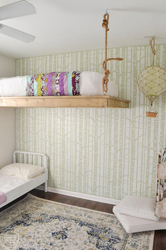 A DIY shared girl's bedroom using the Birch Forest Allover Stencil, a nature inspired wall pattern, from Cutting Edge Stencils. http://www.cuttingedgestencils.com/allover-stencil-birch-forest.html