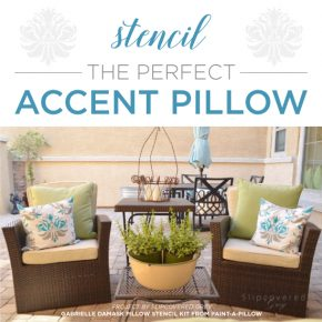 Cutting Edge Stencils shares how to stencil a DIY accent pillow using the Gabrielle Damask pattern. http://www.cuttingedgestencils.com/gabrielle-damask-stencils-paint-a-pillow-kit.html