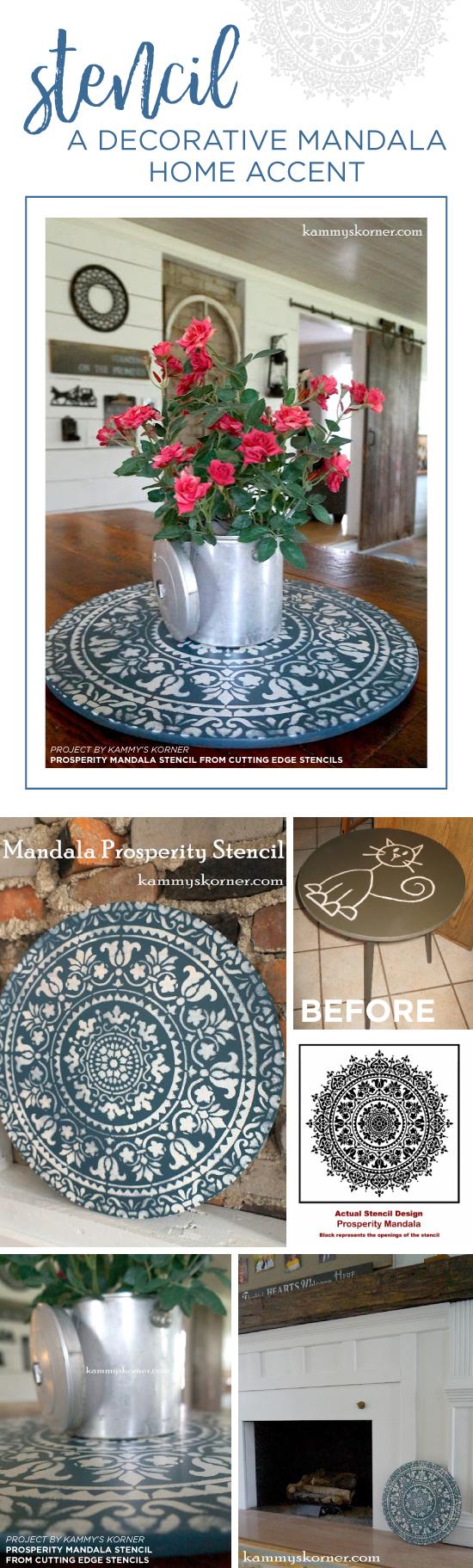 Cutting Edge Stencils shares a DIY stenciled home decor accent using the Prosperity Mandala pattern. http://www.cuttingedgestencils.com/prosperity-mandala-stencil-yoga-mandala-stencils-designs.html