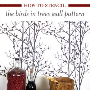 How To Stencil The Birds In Trees Wall Pattern