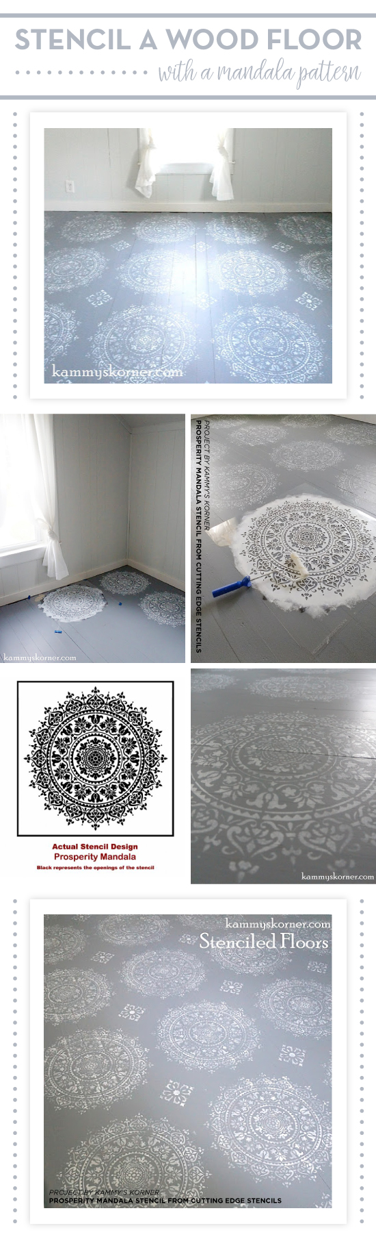 Cutting Edge Stencils shares how to stencil a wood floor using the Prosperity Mandala Stenci. http://www.cuttingedgestencils.com/fabiola-tile-stencil-spanish-portugese-tiles-stencils.html