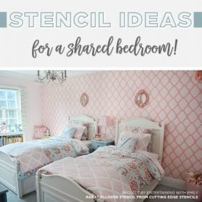 Cutting Edge Stencils shares DIY stencil ideas for a shared child's bedroom. http://www.cuttingedgestencils.com/wall-stencils-stencil-designs.html