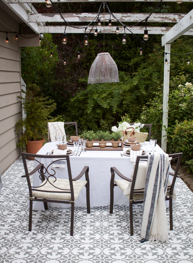 A DIY stenciled cement patio using the Fabiola Tile Stencil from Cutting Edge Stencils. http://www.cuttingedgestencils.com/fabiola-tile-stencil-spanish-portugese-tiles-stencils.html