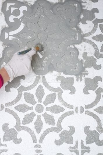 Add Pattern To Your Patio Using A Tile Stencil Stencil
