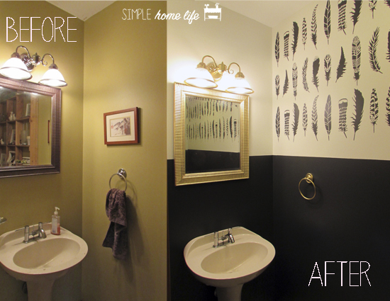 A before and after shot of a tiny bathroom makeover using the Feathers Allover Stencil from Cutting Edge Stencils. http://www.cuttingedgestencils.com/feather-stencil-feathers-stencils-wall-pattern.html
