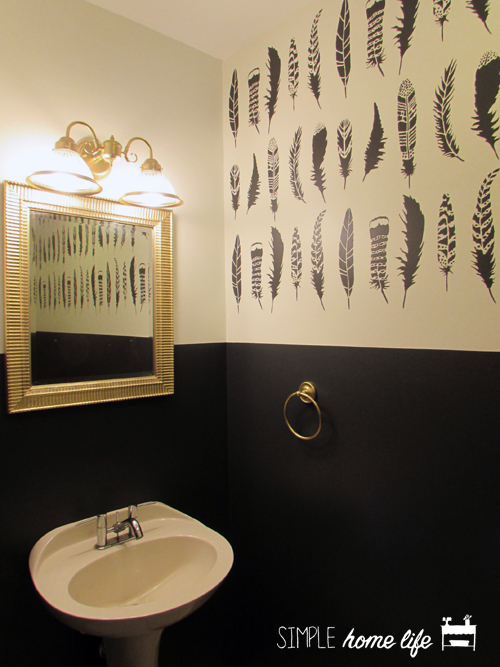 A DIY stenciled bathroom accent wall using the Feathers Allover Stencil from Cutting Edge Stencils in Benjamin Moore Cheating Heart. http://www.cuttingedgestencils.com/feather-stencil-feathers-stencils-wall-pattern.html