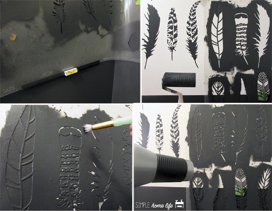 Learn how to stencil a bathroom accent wall using the Feathers Allover Stencil from Cutting Edge Stencils in Benjamin Moore Cheating Heart. http://www.cuttingedgestencils.com/feather-stencil-feathers-stencils-wall-pattern.html