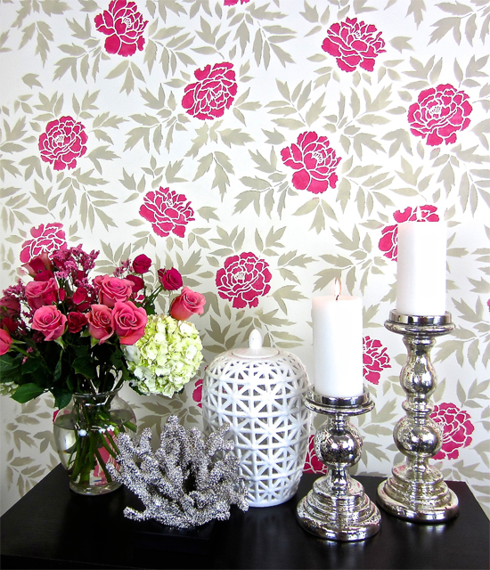 Floral Wallpaper Hack Using The Japanese Peonies Stencil Stencil