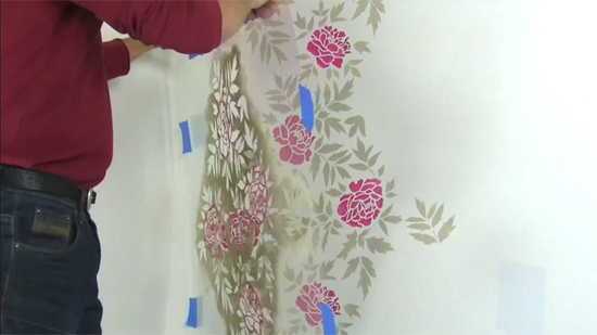 Cutting Edge Stencils shares how to stencil a floral accent wall to get a wallpaper look using the Japanese Peonies Allover Stencil. http://www.cuttingedgestencils.com/japanese-peonies-floral-stencil-pattern.html