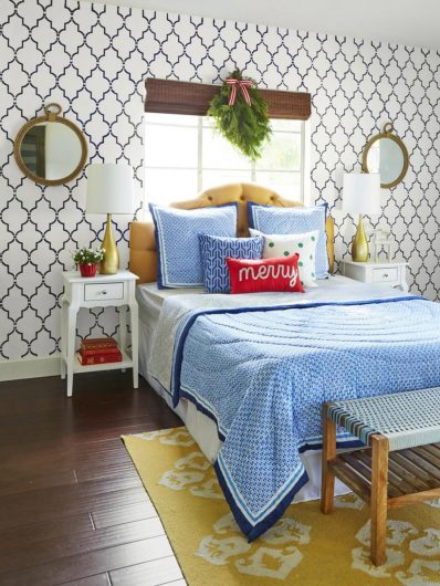 HGTV Magazine featured this stenciled bedroom accent wall using the Marrakech Trellis Allover Stencil from Cutting Edge Stencils. http://www.cuttingedgestencils.com/moroccan-stencil-marrakech.html