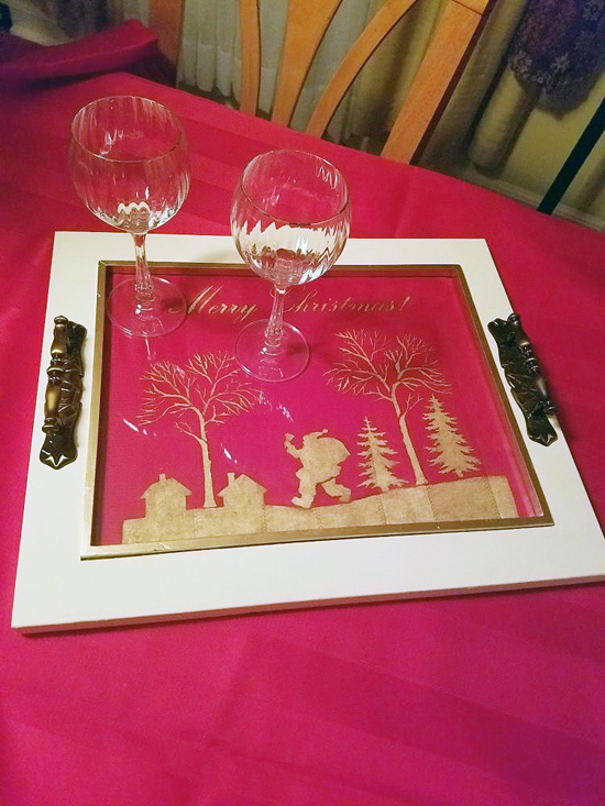 A DIY stenciled Holiday tray using the Merry Christmas Craft Stencil from Cutting Edge Stencils. http://www.cuttingedgestencils.com/merry-christmas-crafts-stencil-design-diy-holiday-decor.html