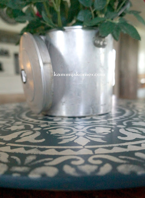 A DIY stenciled home decor accent that was stenciled with the Prosperity Mandala Stencil from Cutting Edge Stencils. http://www.cuttingedgestencils.com/prosperity-mandala-stencil-yoga-mandala-stencils-designs.html