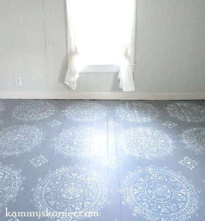 A DIY stenciled wood floor using the Prosperity Mandala Stencil from Cutting Edge Stencils. http://www.cuttingedgestencils.com/fabiola-tile-stencil-spanish-portugese-tiles-stencils.html