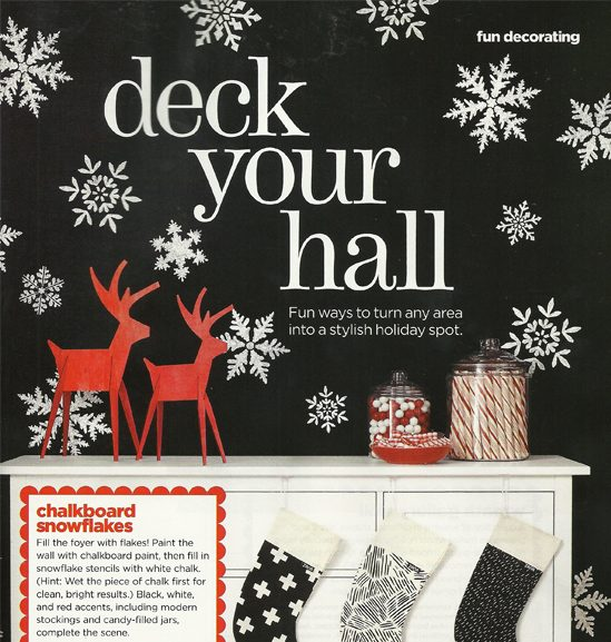 HGTV Magazine stencils a foyer accent wall using chalkboard paint and the Snowflake Stencil Kit from Cutting Edge Stencils. http://www.cuttingedgestencils.com/snowflake-stencils.html