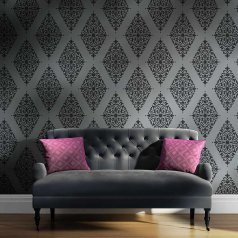 The Arabesque Brocade Damask Stencil is a Moroccan inspired pattern from Cutting Edge Stencils. http://www.cuttingedgestencils.com/damask-stencil-arabesque-brocade-moroccan-stencils-for-walls.html