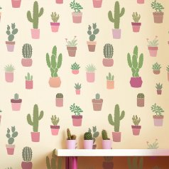 The Cactuses Allover stencil from Cutting Edge Stencils. http://www.cuttingedgestencils.com/cactuses-stencil-wall-pattern-cactus-wallpaper-nursery-design.html