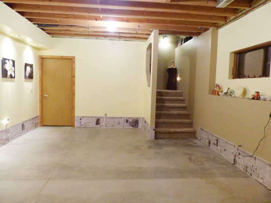 A shot of a basement before its stenciled floor makeover. http://www.cuttingedgestencils.com/paisley-allover-stencil.html
