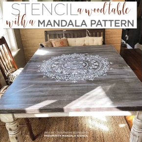 Stencil A Wood Table With A Mandala Pattern