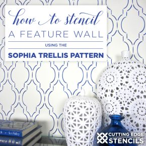 Cutting Edge Stencils shares a stencil tutorial showing how to paint the Sophia Trellis Allover pattern, a Moroccan wall stencil. http://www.cuttingedgestencils.com/sophia-trellis-stencil-geometric-wall-pattern.html