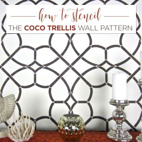 Cutting Edge Stencils shares how to stencil an accent wall using the Coco Trellis Allover pattern. http://www.cuttingedgestencils.com/coco-trellis-allover-pattern-stencil.html