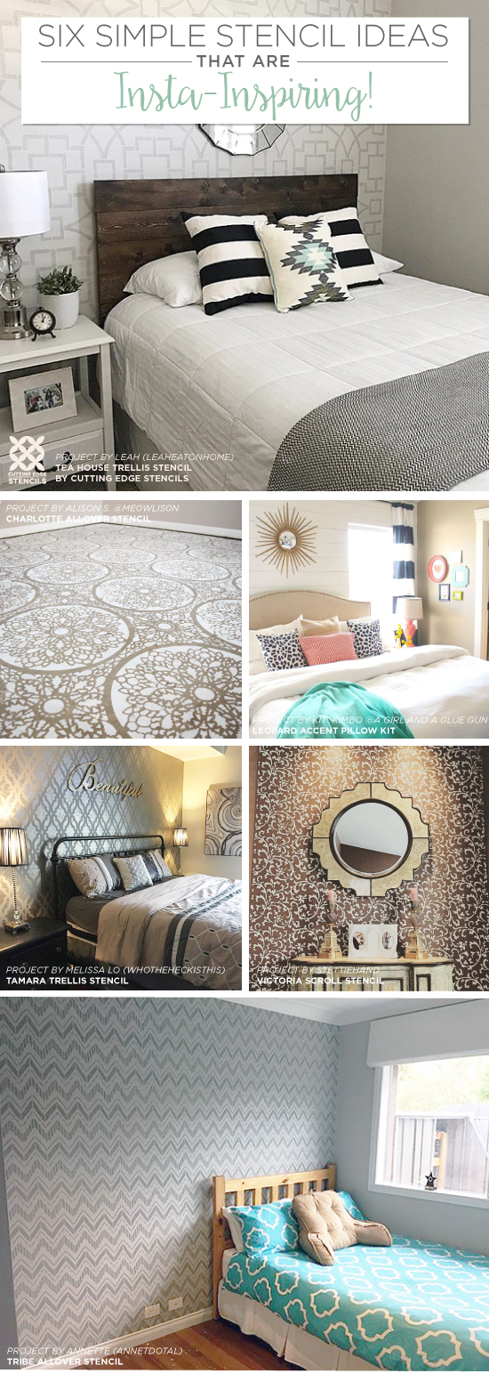 Six simple stencil ideas that are insta inspiring stencil stories cutting edge stencils shares easy and affordable diy decorating ideas using stencil patterns http amipublicfo Images
