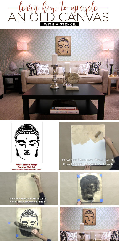 Cutting Edge Stencils shares how to stencil DIY wall art using an old canvas and the Buddha Wall Art pattern. http://www.cuttingedgestencils.com/buddha-stencil-midfullness-decor-wall-decal-yoga-stencils.html