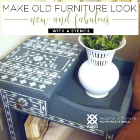 Cutting Edge Stencils shares two DIY painted and stenciled furniture projects using stencil patterns. http://www.cuttingedgestencils.com/indian-inlay-stencil-furniture.html